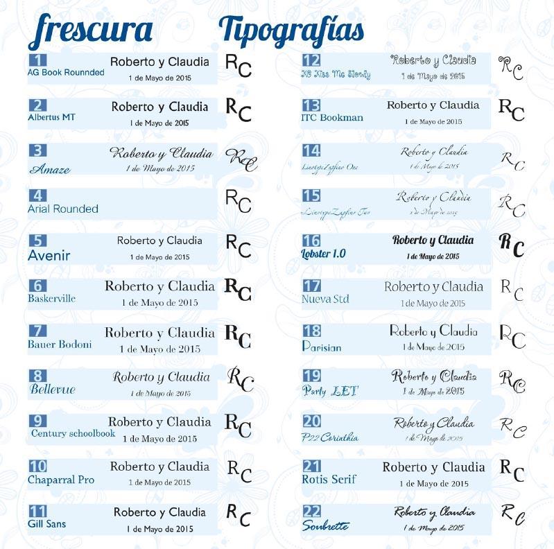 Boda catálogo frescura tipografías