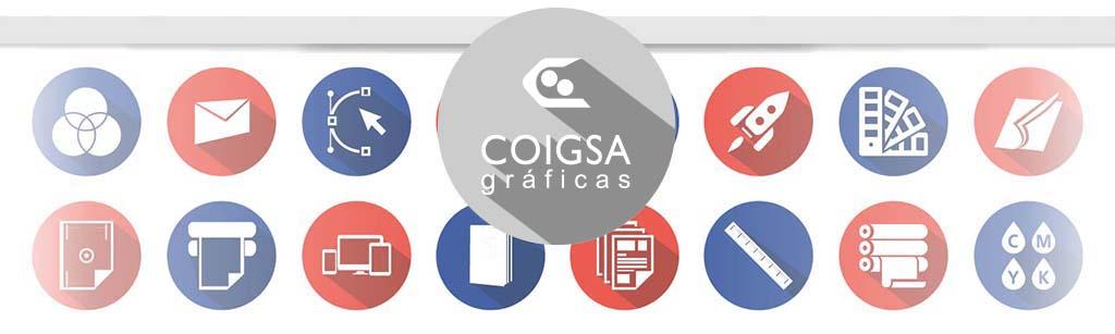 iconos de trabajos se realizan a diario en Imprenta Gráficas Coigsa   Procesos de imprenta y digitales