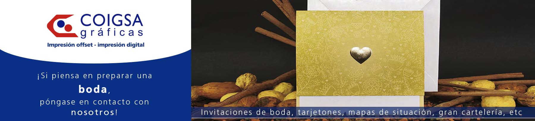Foto invitaciones de boda / trabajos gráficos en la elaboración de una boda realizados por Imprenta Gráficas Coigsa